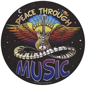 CS116 - Peace Through Music Winged Guitar Full Color Large Round Bumper Sticker