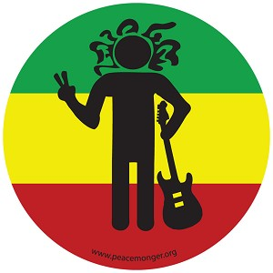 CS129 - Rasta Man Peace Sign Full Color Sticker