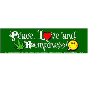 CS135 - Peace Love and Hempiness Large Bumper Sticker