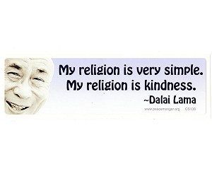 "CM045 - ""My religion is very simple, my religion is kindness"" - Dalai Lama Quote Color Mini Sticker"