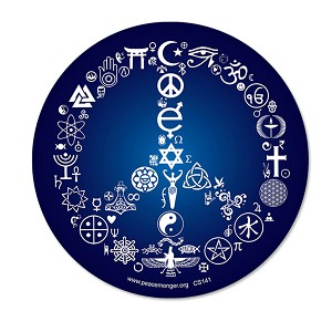 "CS141 - Coexist Word Symbol Peace Sign 5"" Circular Esoteric Interfaith Bumper Sticker / Decal"