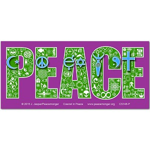 CM048 - Coexist in Peace Interfaith Symbol Mosaic Color Mini Sticker