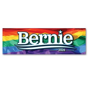 MS155-L - Bernie Sanders For President 2020 Rainbow Color Mini Sticker