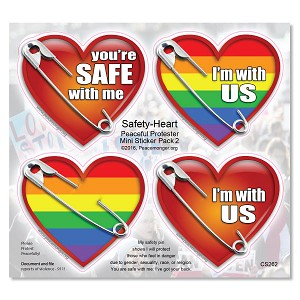 CS262 - Safety Pin Hearts Protest Mini Sticker Pack 4