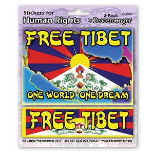 CS306 - Free Tibet One World One Dream Color Sticker 2-Pack Tibet Buddhism Peace