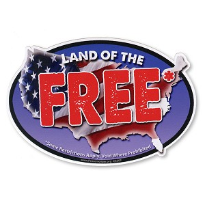 CS362-MAG Land of the FREE Void Where Prohibited Oval Color Sticker Magnet