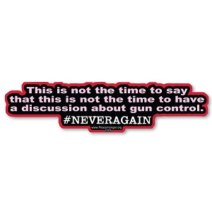 CS376 This is not the time NEVERAGAIN Anti Gun Quote Bumper Sticker Decal