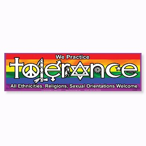 CS395 We Practice Tolerance All Welcome Rainbow Flag Sticker Decal