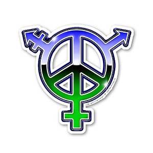 CS398 LGBTQ Chrome Peace Symbol Gay Lesbian Bisexual TG Queer Cut Out Sticker