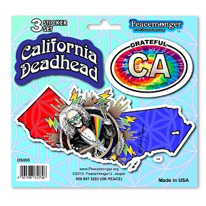 DS005 California Deadhead Lightning Bolt Steal Your Face Grateful Dead Sticker