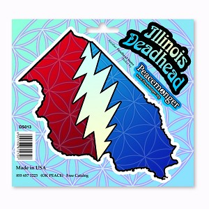DS013 Illinois Deadhead Lightning Bolt Grateful Dead Steal Your Face Sticker Set