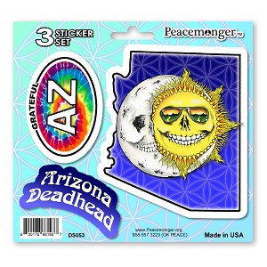 DS053 Arizona Deadhead Skeleton Sun Moon Grateful Dead State 3 Sticker Set
