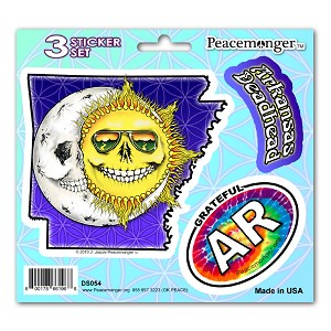 DS054 Grateful Arkansas Deadhead Skeleton Sun Decal Dead State 3 Sticker Set