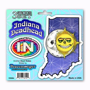 DS064 Grateful Indiana  Deadhead State Skeleton Sun Decal Dead State 3 Sticker Set