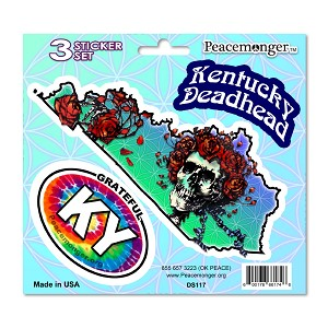 DS117 Kentucky Deadhead Bertha Skeleton Roses Grateful Dead 3 Sticker Set
