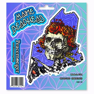 DS119 Maine Deadhead Bertha Skeleton with Roses Grateful Dead Sticker Set