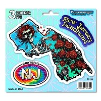 DS130 New Jersey Deadhead Bertha Skeleton Roses Grateful Dead State 3 Sticker Set