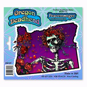 DS137 Oregon Deadhead Grateful Dead Skeleton Bertha with Roses 3 Sticker Decal Set
