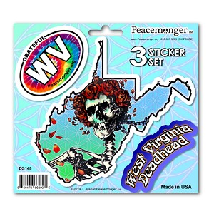 DS148 West Virginia Bertha Skeleton Roses Grateful Dead State 3 Sticker Set