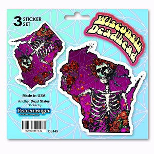 DS149 Wisconsin Deadhead State Bertha Skeleton and Roses Grateful Dead 3 Sticker Set