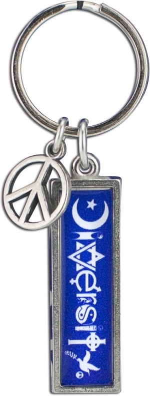 J230 - Diversity Interfaith Resin Cast Pendant with Peace Charm Keychain Key Ring