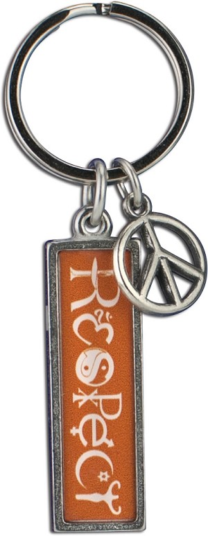 J231 - Respect Interfaith Resin Cast Pendant with Peace Charm Keychain Key Ring