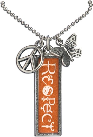 J218 - Respect Interfaith Resin Cast Pendant with Peace Symbol Charms and Ball Chain