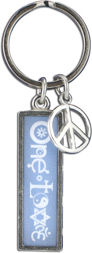 J234 - One Love Interfaith Resin Cast Pendant with Peace Charm Keychain Key Ring