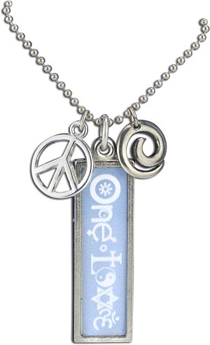 J221 - One Love Interfaith Resin Cast Pendant with Peace Symbol Charms and Ball Chain