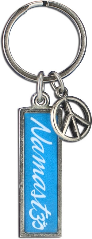 J236 - Namaste Script Resin Cast Pendant with Peace Charm Keychain Key Ring