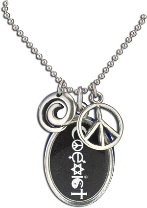 J225 - Coexist Interfaith Resin Cast Pendant with Peace Symbol Charms and Ball Chain