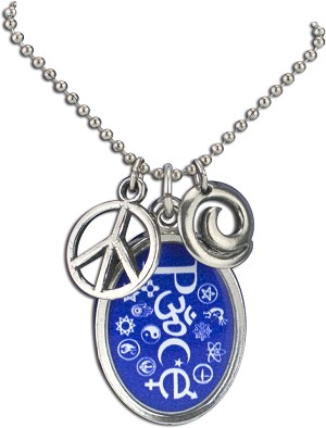 J226 - Peace Interfaith Resin Cast Pendant with Peace Symbol Charms and Ball Chain