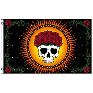 FLG014 - Graciously Departed Skull and Roses Flag