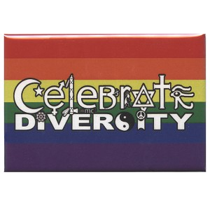 FM068 - Celebrate Diversity Symbols Rainbow Fridge Magnet