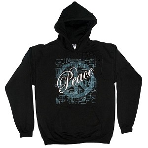 HS003BLK - Peace Languages Word Cloud Men's / Unisex Hoodie Sweatshirt