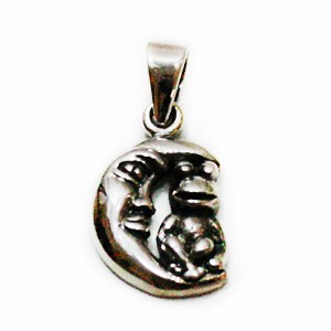 J112 - Small Sterling Frog on Moon Pendant