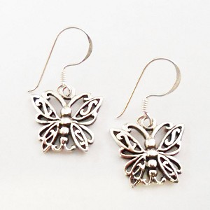 J141 - Sterling Tribal Butterfly Earrings