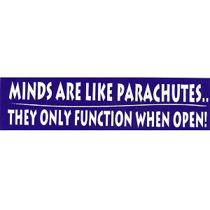 MS45 - Minds are like parachutes - They only function when open mini sticker