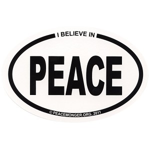 OS001 - I Believe in PEACE Oval Bumper Sticker
