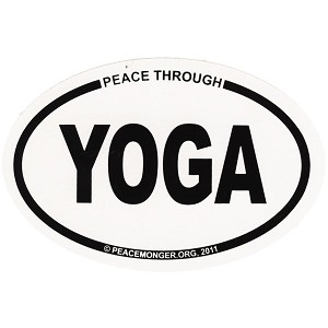 OS021 - Peace Through Yoga Oval ID Bumper Sticker
