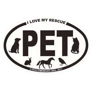 OM026 - I Love My Rescue PET Mini Oval ID Sticker