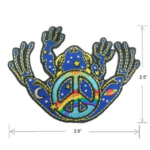 P089 Jerry Jaspar Peace Frog Day Night Peace Symbol Sun Moon Space Iron On Patch