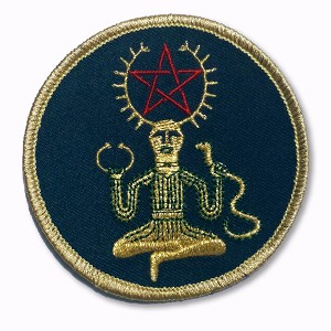P099 Wiccan Goddess Holding Snake Ankh Pentagram Star Meditation Yoga Patch