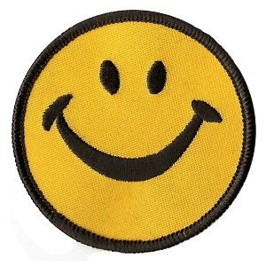 "P162 - Big Happy Smiley Yellow Embroidered Smile Face Iron on Transfer Be Happy 3"" Patch"