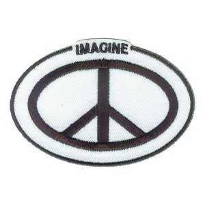 P237 Imagine Peace Oval Beatles John Lennon Embroidered Iron On Patch