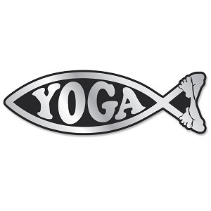 PF003-MAG - Meditating Yoga Fish Chrome 3D Emblem for Auto Truck Home  Jesus Parody Darwin MAGNET