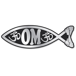 PF004-MAG - Om Fish Chrome 3D Emblem Car Auto Truck Home  Sticker Jesus Parody Darwin MAGNET