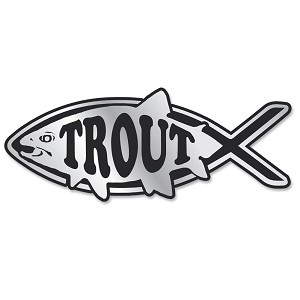 PF006 - Trout Fish Chrome 3D Emblem for Auto Truck and Home  Sticker Jesus Parody Darwin