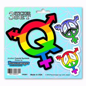 PK001 LGBTQ Symbols Gay Lesbian Bisexual Transsexual Queer 3 Sticker Set