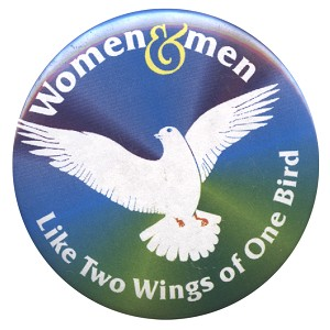 B424 - Women & Men  Like two wings of one Bird Button